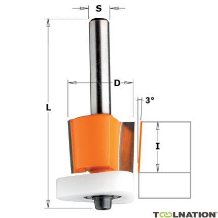 Uitloopfrees 3° met Delrin kopse geleider 12,7 x 12,7 mm schacht 8 mm