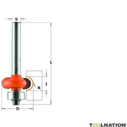 Half Bolle Radiusfrees R=3,2 met geleidelager 19,05 x 6,4 mm schacht 6 mm