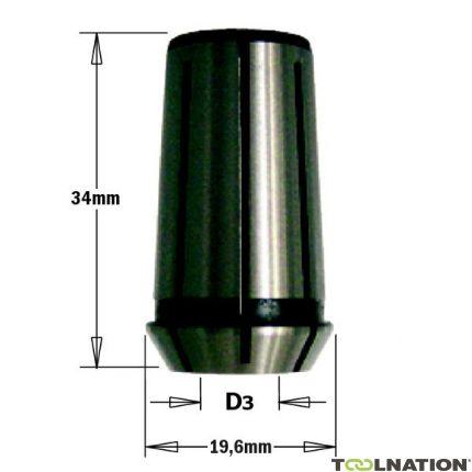 Spantang voor bovenfrees 34 mm, D3=6,35