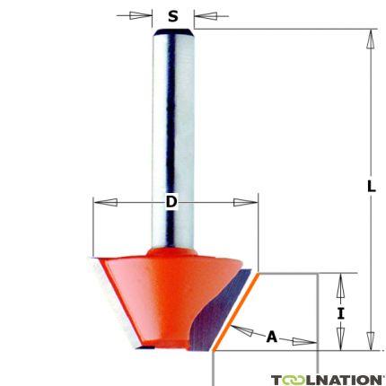 Afkantfrees zonder geleidelager 45° schacht 8 mm