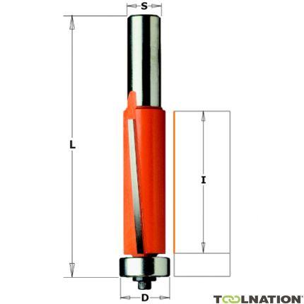 Uitloopfrees met kopse geleider 19 x 25,4 mm schacht 8 mm
