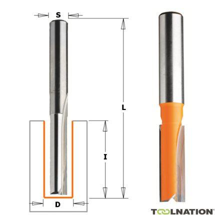 15 mm Groeffrees met rechte snijkoppen lange uitvoering schacht 8 mm