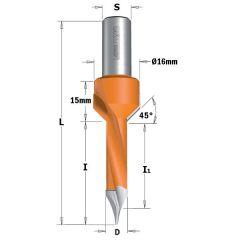 Drevelboor met vaste verzinker 5mm, schacht 10 rechts