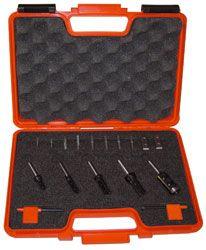Set van 5 frezen in pvc kistje met wisselmesjes 8 mm schacht