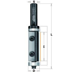 Rechte frees met wisselbare messen Z2 + kops lager 19 x 74 mm schacht 8 mm
