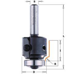 Radiusfrees R5 met wisselbare messen + kops lager 28,6 x 63 mm schacht 8 mm