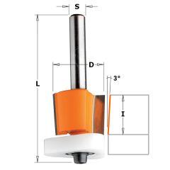 Uitloopfrees 3° met Delrin kopse geleider 12,7 x 12,7 mm schacht 6 mm