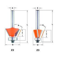 Kantenfrees 30° kopse geleider 26 x 8,5 mm schacht 8 mm