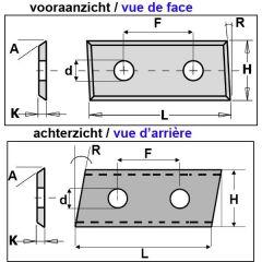 WPL wisselmes 4 zijdig 28,3x12x1,5 mm (2 stuks)