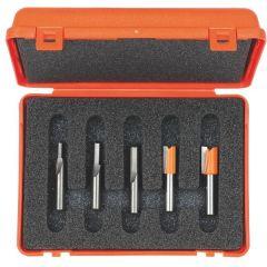 Set van 5 frezen in pvc kistje schacht 6 mm HM