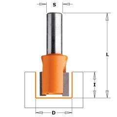 Sponning- en kantenfrees 24mm met op schuine snijkop, schacht 6mm