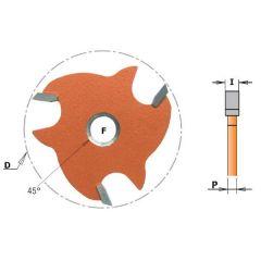 Schijffrees met conische zitting 47,6x3,2 F=Ø8