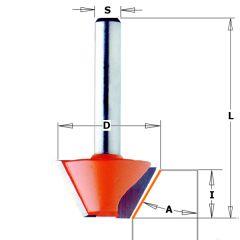 Afkantfrees zonder geleidelager 15° schacht 8 mm