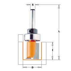 15 mm Groeffrees met lager lang schacht 6 mm