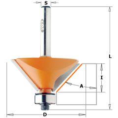 Afkantfrees 45° met geleidelager 45 x 18 mm schacht 12 mm