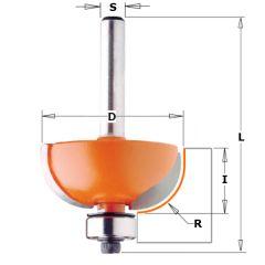 Bolle Radiusfrees R=8 met geleidelager 28,7 x 12,7 mm schacht 8 mm