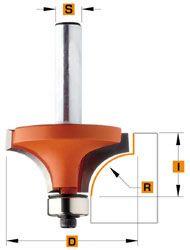 Holle Radiusfrees (zonder opstaande kant) R=1 met geleidelager 14,7 x 10 mm schacht 8 mm