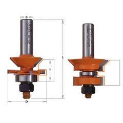 set voor tand- en groefverbinding met een V-groef schacht 12 mm