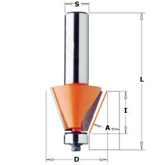 Afkantfrees 15° met geleidelager 24,5x22x71,1 mm schacht 8 mm