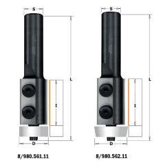 Corianfrees recht met Delrin kogellager 22x30x83 schacht 12 mm