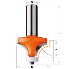 Corian Kwart Oprondfrees R12,7 + lager schacht 12 mm