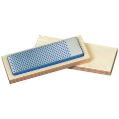 Universele diamant slijpsteen in houten box 150x52x16mm, D46 grof, blauw
