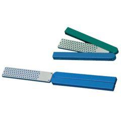 Opvouwbare diamant slijpsteen in ledere zakje 115x25x5mm, D15/46 extra fijn/grof, groen/blauw